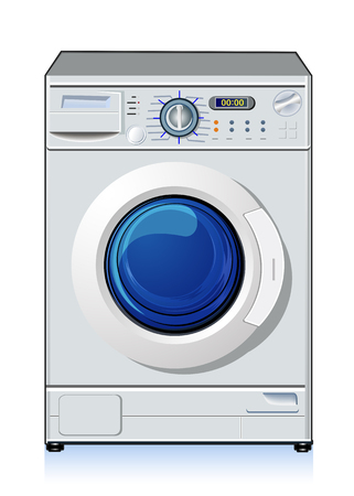 major household appliance: Automatic washing machine, vector art illustration of home appliances.