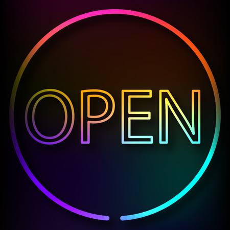 neon sign: OPEN neon sign, vector art illustration  .