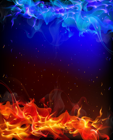 Background of red and blue fire, vector art illustration.