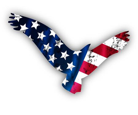 circa: Flying American Eagle, vector art illustration