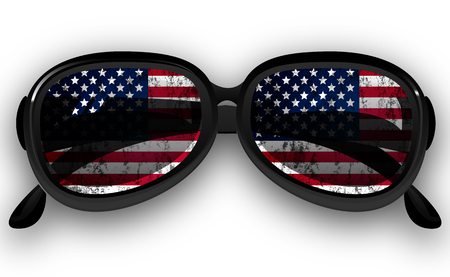 protective eyewear: Sunglasses with USA flag, vector art illustration.