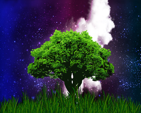 crowded space: One tree on a background of the starry night sky, vector art illustration.