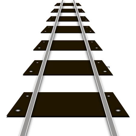 convergence: Railway rails and sleepers, vector art illustration.