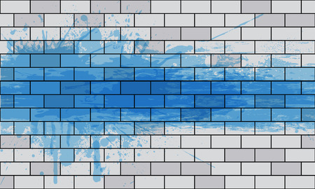 wall paint: White brick wall with spray paint, vector art illustration.