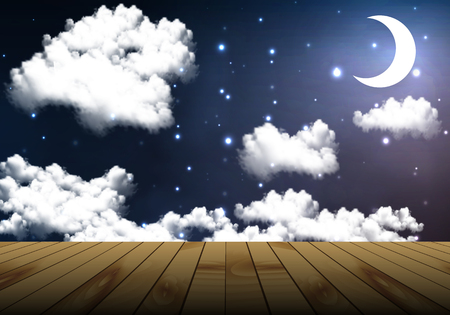 cloudy night sky: Wooden table on a background cloudy night sky, vector art illustration.