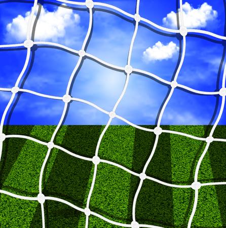 soccer net: Soccer net against the sky and field, vector art illustration.
