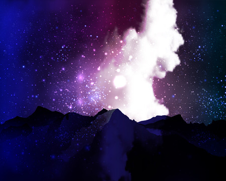cloudy night sky: Mountains on the background of cosmic cloudy night sky, vector art illustration. Illustration