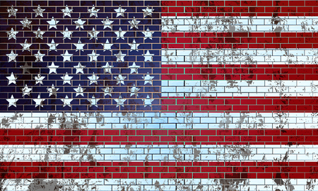 Old brick wall painted with the American flag, vector art illustration.