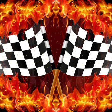 Checkered racing flag on fire, vector art illustration.