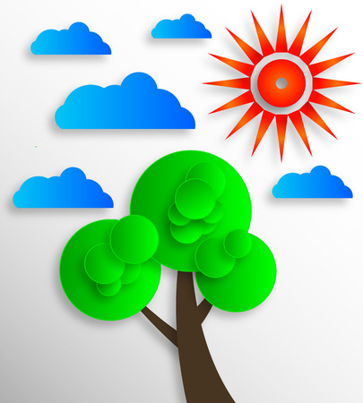 horizon over land: Icon sun clouds trees, vector art illustration.