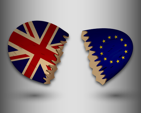 remain: Broken egg shells with the European and British flags, vector art illustration. Illustration