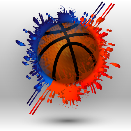 Basketball ball with spots, vector art illustration sport.