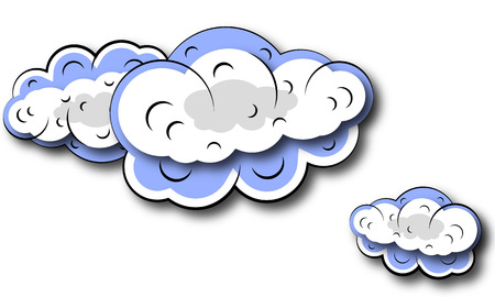 waft: Isolated cloud, vector art illustration of the cloudy sky.