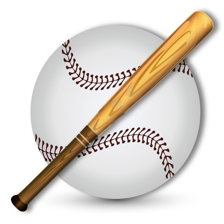 Baseball and baseball bat, vector art illustration sport.