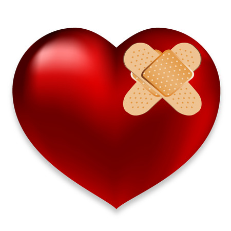 Heart with plaster, vector art illustration of the pain of love.