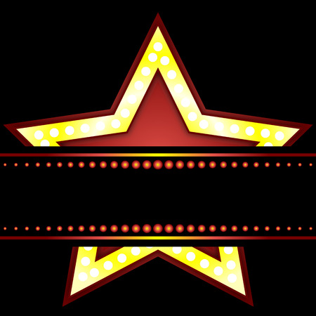 show business: Neon Star, vector art illustration show business. Illustration