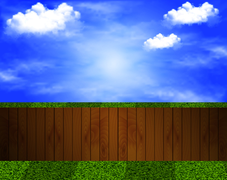 front or back yard: The yard with wooden fence, vector artwork illustration.