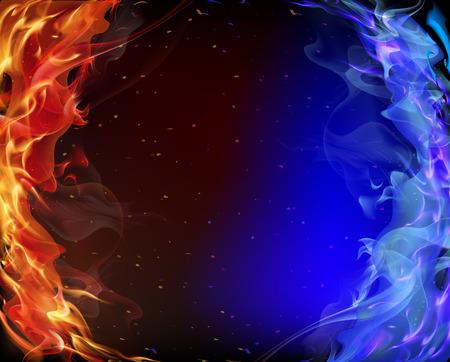 빨강 및 파랑 연기, 벡터 아트 그림.
