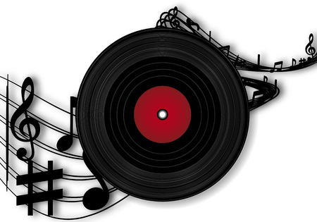 Vinyl records and sheet music, music vector art illustration.