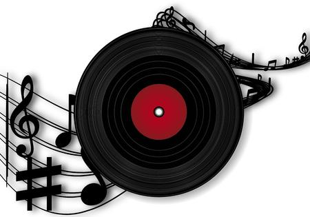 Vinyl-Schallplatten und Noten, Musikvektorillustrationen.