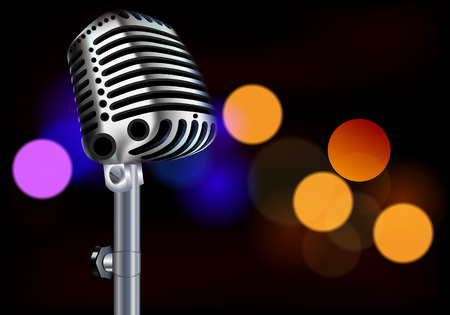 Microphone on bokeh background, vector art illustration. Illustration