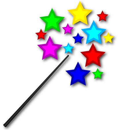 Varita mágica con estrellas brillantes, ilustración de arte vectorial.