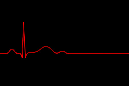 taking pulse: Red cardiogram on a black background, vector art illustration.