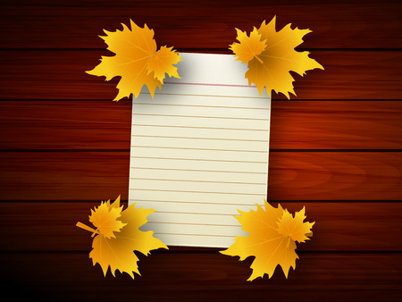 White paper with autumn leaves on the background of wood texture, vector art illustration.