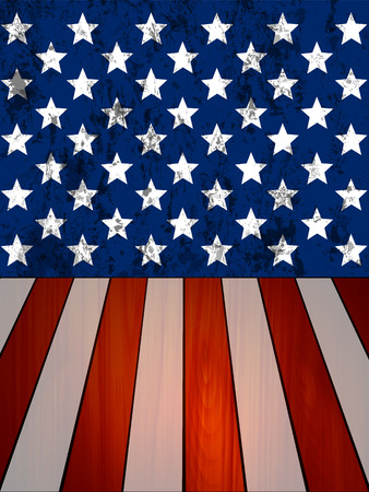 The walls and wooden planks in the texture of the United States flag, vector art illustration.