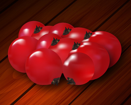 convenient: Berries of a red currant on wooden boards, vector art illustration.