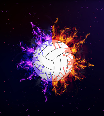 Volleyball ball on fire, vector art illustration.