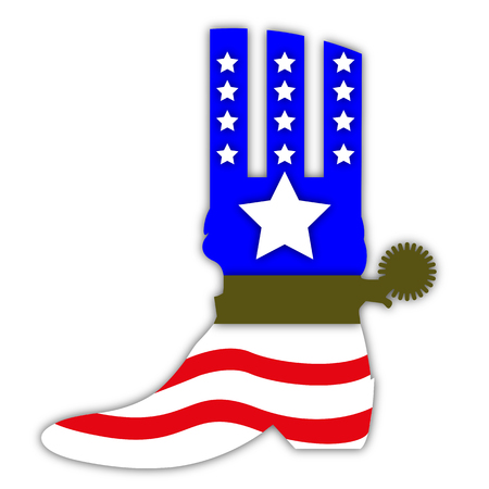 Cowboy boots in the style of USA flag, vector art illustration. Illustration
