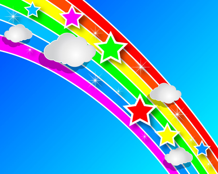 cartoon banner: Rainbow paper with clouds in the sky, vector art illustration. Illustration
