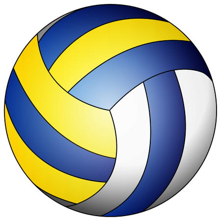 Blue yellow white volleyball, vector art illustration.