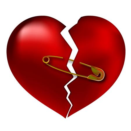 Broken heart torn, vector illustration art of love.