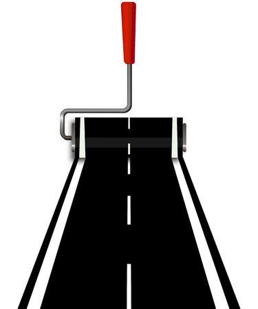 rolled: Road with a roller, vector art illustration.
