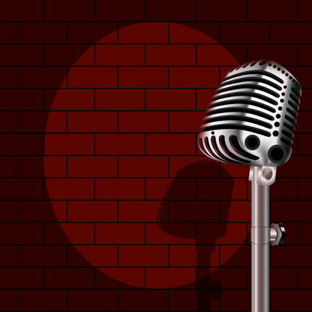Microphone on a background of red brick, vector art illustration.