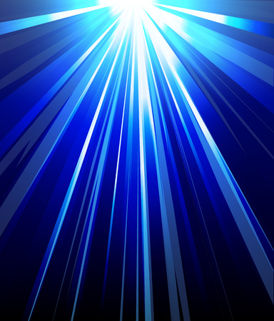 spot lit: Blue background abstract rays of light, vector art illustration.