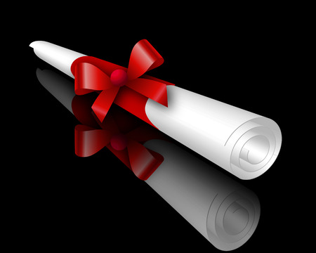 rolled: Isolated scroll with ribbon, vector art illustration. Illustration