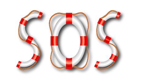 SOS word of life buoy, vector art illustration. Illustration