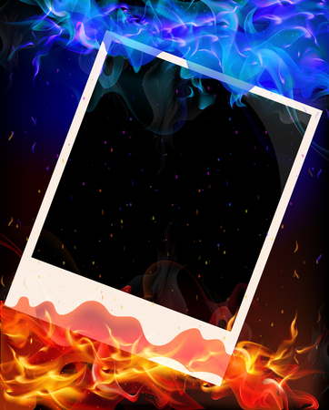 Photo in red and blue flame, vector art illustration.