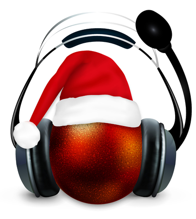 Christmas ball with Santa Claus hat and headphones, vector art illustration.
