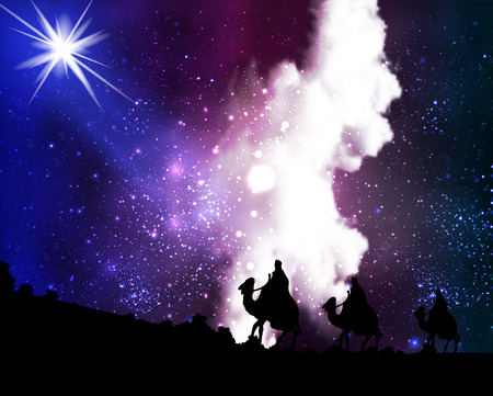 Three wise men a star on the background of cosmic sky, vector art illustration.