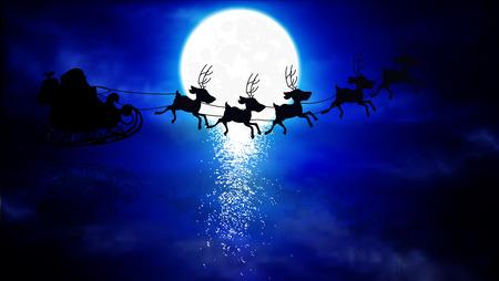Flying Santa Claus in the sky, vector art illustration.