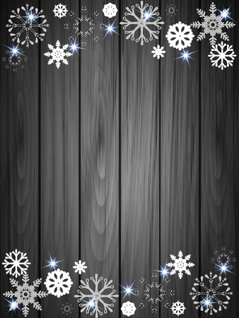 node: Paper snowflakes on a background of boards, vector art illustration for Christmas and New node.