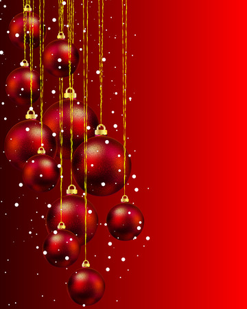 dcor: Hanging red Christmas balls and snow, vector art illustration for Christmas and New Year. Illustration