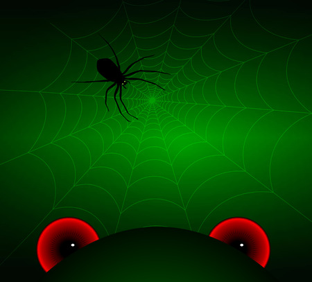 evil eyes: Evil eyes and spider in a web, vector art illustration of Halloween.