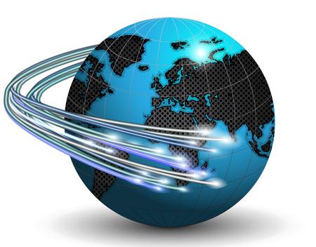 Optische vezels rond de Aarde, vector kunst illustratie.