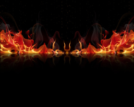 Fire flames on a black background, vector art illustration.
