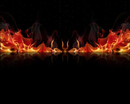 黒の背景、ベクトル アート イラスト上の炎を発射します。